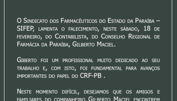 Nota de Pesar pelo falecimento do Senhor Gilberto Maciel do CRF-PB